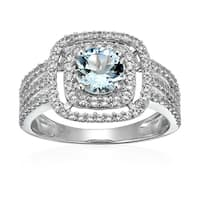 Sterling Silver Aquamarine And Created White Sapphire Ring, Size 7 - Blue