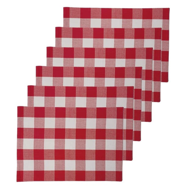Griffin Check Woven Placemat - Red and white