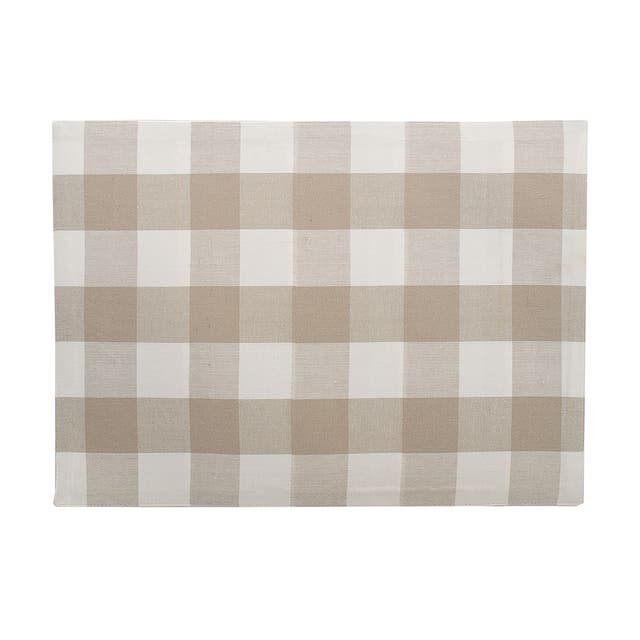 Griffin Check Woven Placemat - sandstone and white