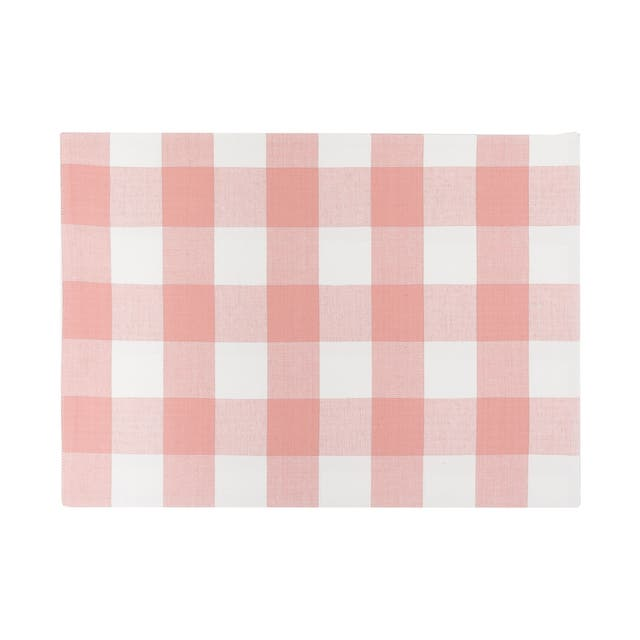 Griffin Check Woven Placemat - pink and white