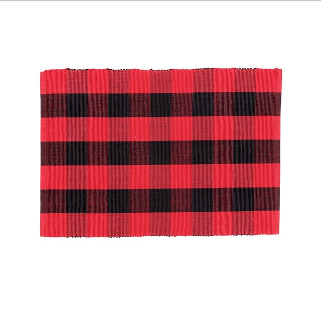 Griffin Check Woven Placemat - Black and Red