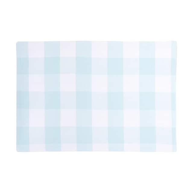 Griffin Check Woven Placemat - baby blue and white