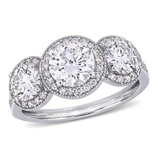 Moissanite by Miadora Signature Collection 14k White Gold 2ct TGW Moissanite and 1/3ct TDW Diamond 3-Stone Halo Engagement Ring