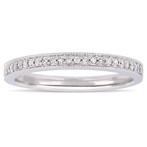 Moissanite by Miadora Signature Collection 14k White Gold 1/8ct TDW Diamond Stackable Semi-Eternity Wedding Band