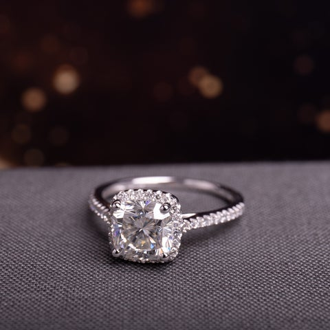 Moissanite by Miadora Signature Collection 14k White Gold 2ct TGW Moissanite and 1/4ct TDW Diamond Square Halo Engagement Ring
