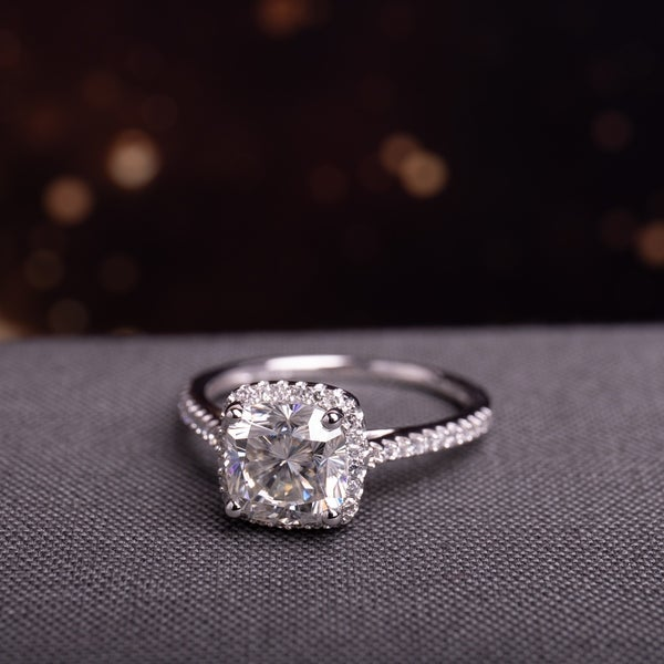 Cushion 2ct TGW Moissanite and 1/4ct TDW Diamond Engagement Ring in 14k White Gold by Miadora
