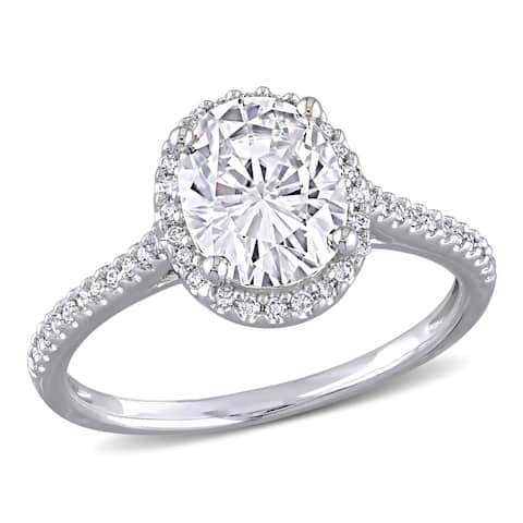 Miadora 2ct DEW Oval-cut Moissanite and 1/4ct TDW Diamond Halo Engagement Ring in 14k White Gold