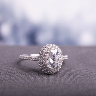 Moissanite By Miadora Signature Collection 14k White Gold 1ct TGW Moissanite And 1 3ct TDW Diamond Double Halo Engagement Ring