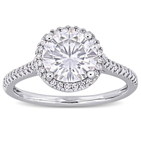 Miadora 2ct DEW Moissanite and 1/4ct TDW Diamond Halo Engagement Ring in 14k White Gold