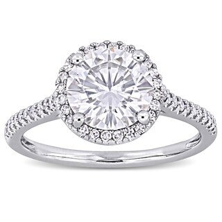 Moissanite by Miadora Signature Collection 14k White Gold 2ct TGW Moissanite and 1/4ct TDW Diamond Halo Engagement Ring