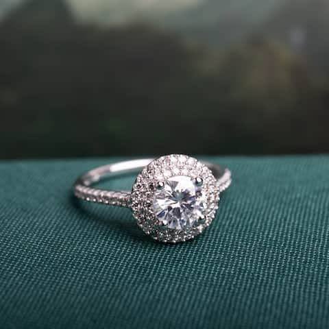 Miadora 1ct DEW Moissanite and 1/3ct TDW Diamond Double Halo Engagement Ring in 14k White Gold