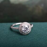 Moissanite by Miadora Signature Collection 14k White Gold 1ct TGW Moissanite and 1/3ct TDW Diamond Double Halo Engagement Ring