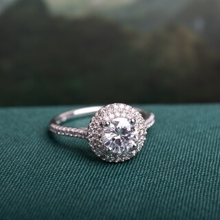 Moissanite by Miadora Signature Collection 14k White Gold 1ct TGW Moissanite and 1/3ct TDW Diamond Double Halo Engagement Ring (More options available)