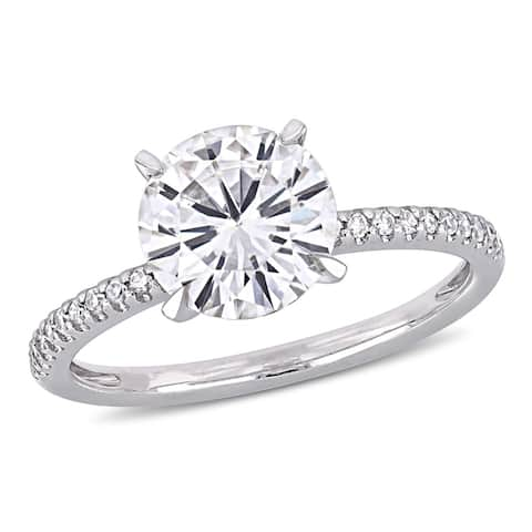 Moissanite by Miadora 14k White Gold 1-3/4ct TGW Moissanite and 1/10ct TDW Diamond Solitaire Engagement Ring