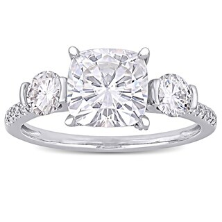 Moissanite by Miadora Signature Collection 14k White Gold 2 5/8ct TGW Moissanite and 1/6ct TDW Diamond 3-Stone Engagement Ring
