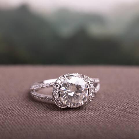 Miadora 2ct DEW Moissanite and 1/4ct TDW Diamond Halo Split Shank Engagement Ring in 14k White Gold