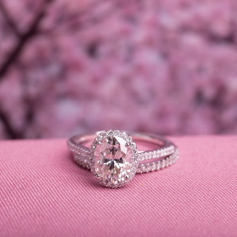 Exclusive - Oval 2ct TGW Moissanite and 1/3ct TDW Diamond Bridal Set in 14k White Gold by Miadora