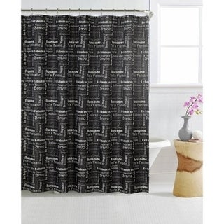 Mainstays Shower Curtain And 12-pcs Decorative Hooks - Printed Black