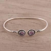 Handmade Sterling Silver 'Flaring Ovals' Amethyst Bracelet (India)