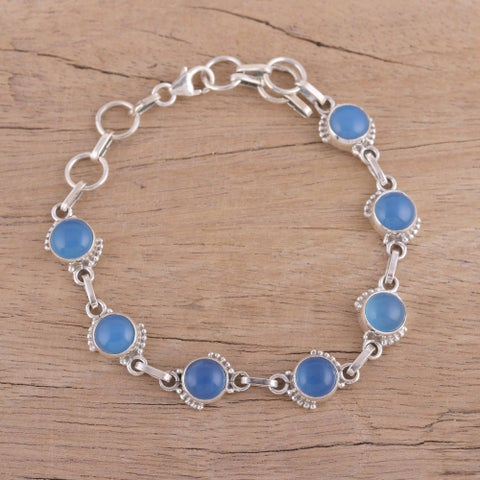 Handmade Sterling Silver 'Charming Orbs' Chalcedony Bracelet (India)