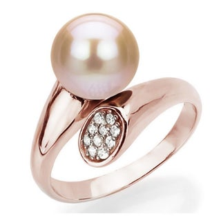 DaVonna Rose Gold over Silver 8-9mm Round Freshwater Pearl .10tcw CZ Adjustable Ring