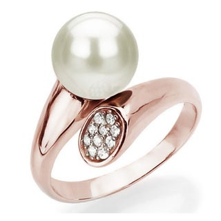 DaVonna Rose Gold over Silver 8-9mm Round Freshwater Pearl and .10tcw Cubic Zirconia Adjustable Ring