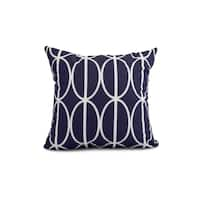 18 x 18 Inch Ovals Go 'Round Geometric Print Outdoor Pillow