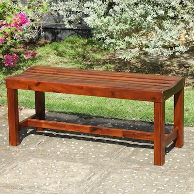 International Caravan Highland Acacia 55-Inch Backless Garden Bench