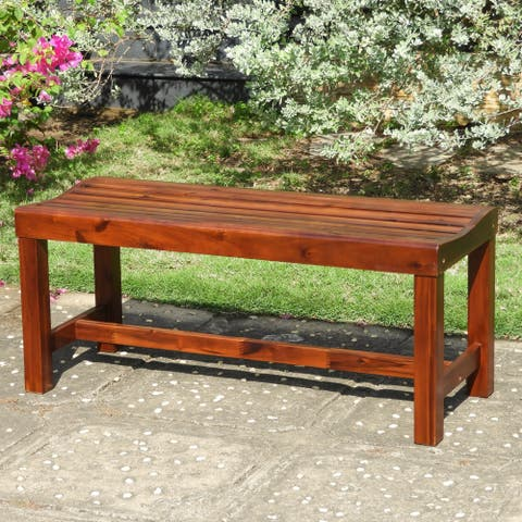 International Caravan Highland Acacia 55-Inch Backless Garden Bench