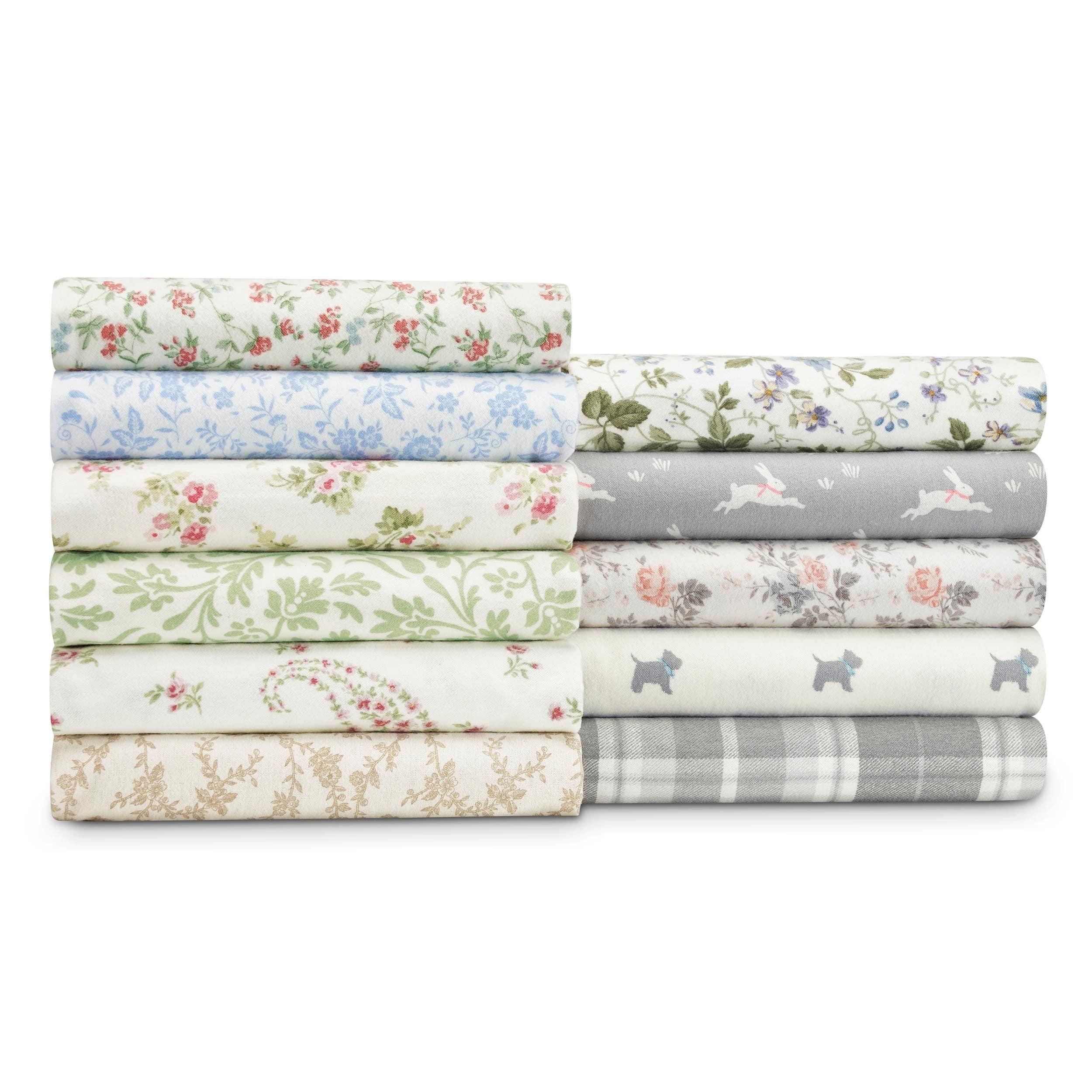 Laura Ashley 4-piece Deep Pocket Flannel Sheet Set Full S...