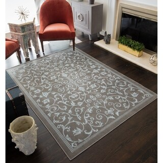 Rugs America Gaelan Blue/Grey Traditional Floral Area Rug (8' x 10')
