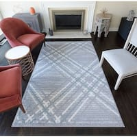 Rugs America Tipper Grey/Ivory Modern Plaid Area Rug - 8' x 10'
