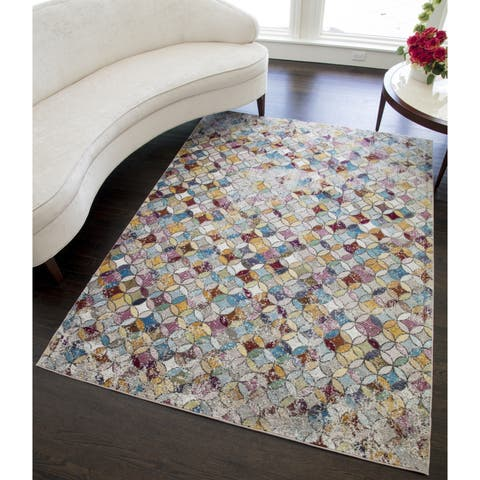 Vividance Modern Vintage Distressed Area Rug - 5'x7'