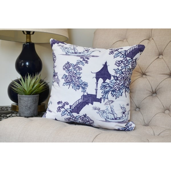 26 x 26 inch China Old Floral Print Pillow