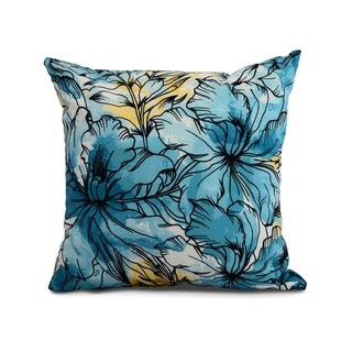 26 x 26 Inch Zentangle Floral Print Pillow (Teal)