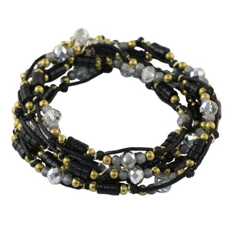 NOVICA Handmade Brass 'Night Party' Calcite Bracelet (Thailand)