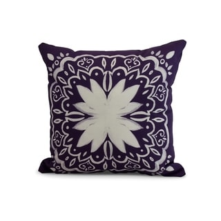 26 x 26 Inch Cuban Tile 1 Geometric Print Pillow (Purple)