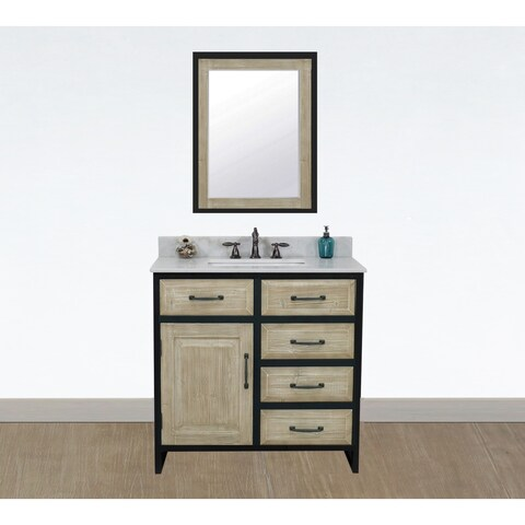 """36""""Rustic Solid Fir Single Sink Iron Frame Vanity with Marble Top-No Faucet"""