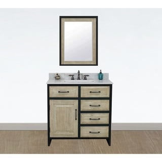 "36""Rustic Solid Fir Single Sink Iron Frame Vanity with Marble Top-No Faucet"