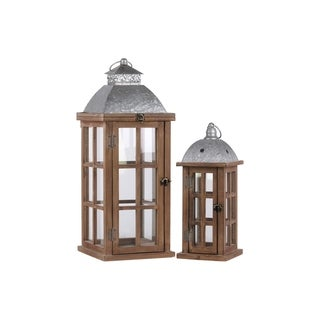 """UTC26133: Wood Square Lantern with Ring Handle, Galvanized Metal Top and """"Window Pane"""" Design Body Set of Two Brown"""