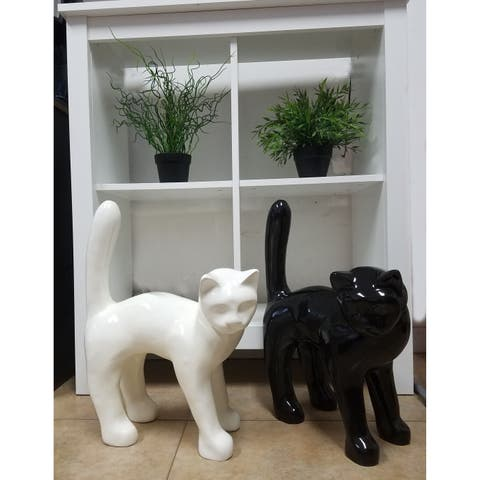"Infinytoon Standing Cat Figurine Resin Black 18""H"