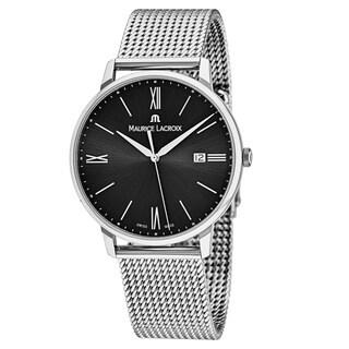 Maurice Lacroix Men's EL1118-SS002-310 'Eliros' Black Dial Stainless Steel Swiss Quartz Watch