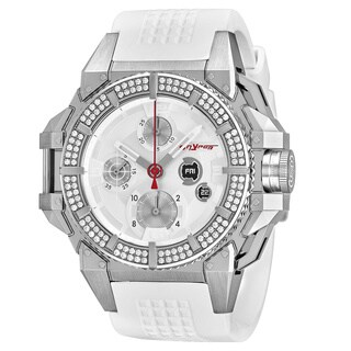 Snyper Men's 'One' Silver Dial White Rubber Strap Chronograph Diamond Swiss Automatic Watch