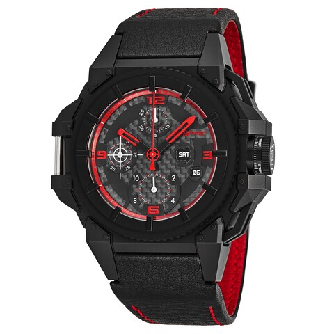 Snyper Men's 'One' Black Carbon Fiber Dial Black Leather Strap Chronograph Swiss Automatic Watch
