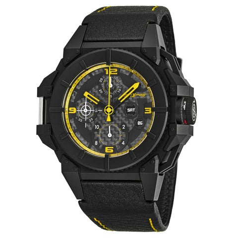 Snyper Men's 'One' Black Carbon Fiber Dial Black Leather Strap Chronograph Swiss Automatic Watch