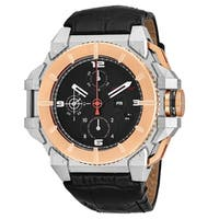 Snyper Men's  'One' Black Dial Black Leather Strap Chronograph Two Tone Swiss Automatic Watch
