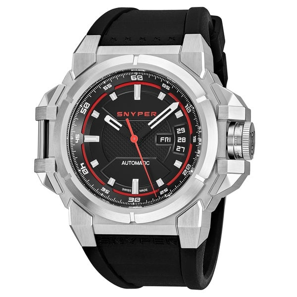 Snyper Men's 20.000.00 'Two' Black Dial Black Rubber Strap Swiss Automatic Watch