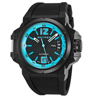 Snyper Men's 'Two' Black/Blue Dial Black Rubber Strap Swiss Automatic Watch