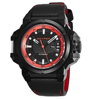 Snyper Men's 'Two' Black/Red Carbon Fiber Dial Black Leather Strap Swiss Automatic Watch
