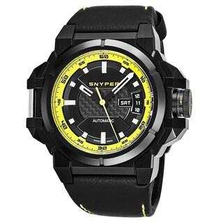 Snyper Men's 'Two' Black Carbon Fiber Black Leather Strap Swiss Automatic Watch